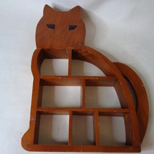 Cat Shaped Wood Wall Shelf Shadow Box Display Case